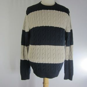 Vtg Brooks Brothers Mens L Striped Cotton Sweater